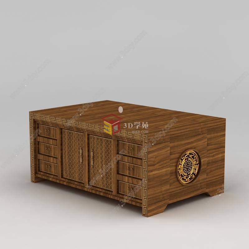 中式家具实木雕花边柜模型