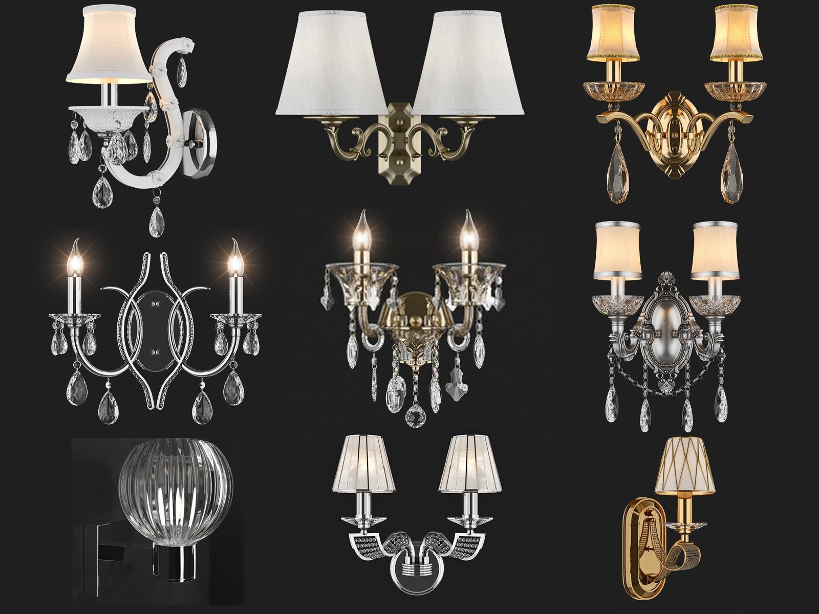 现代水晶灯壁灯组合