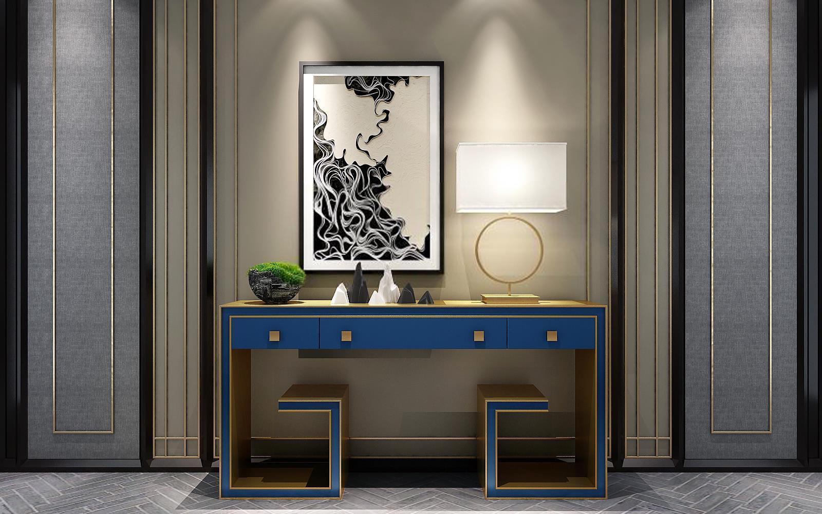 新中式古典蓝色实木边桌背景墙组合图片