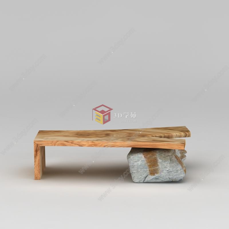 石头木板搭简易小板凳模型