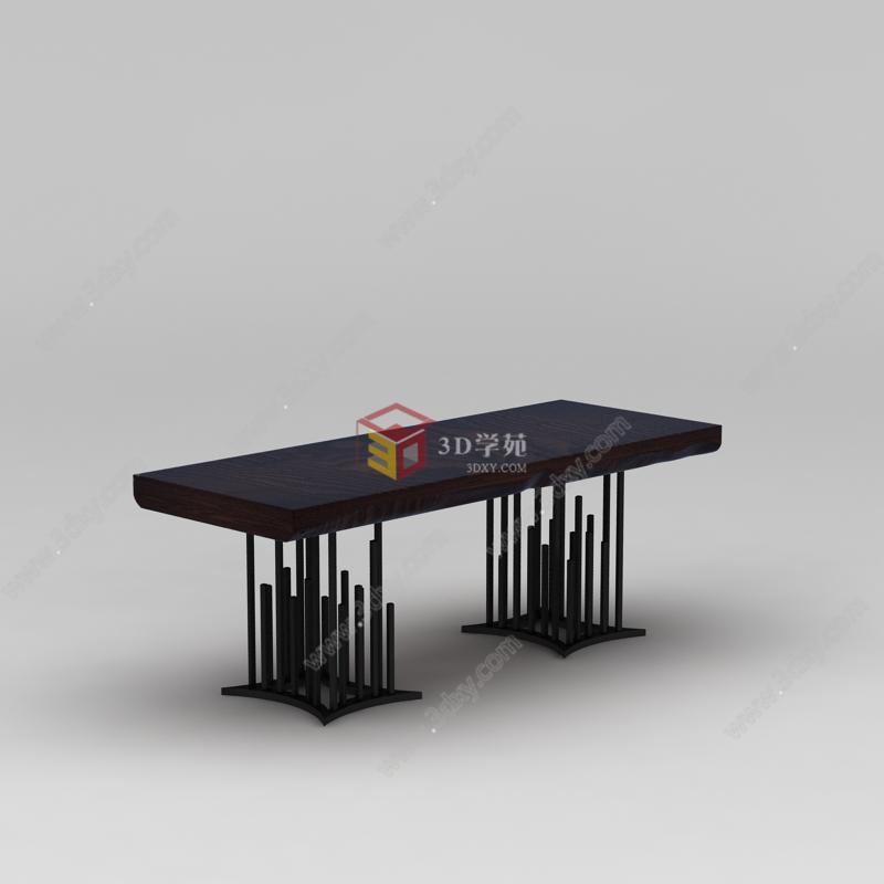 家具组合3d模型 桌椅3d模型 中式创意实木桌子3d模型