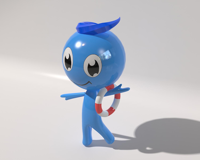 蓝色卡通人物吉祥物