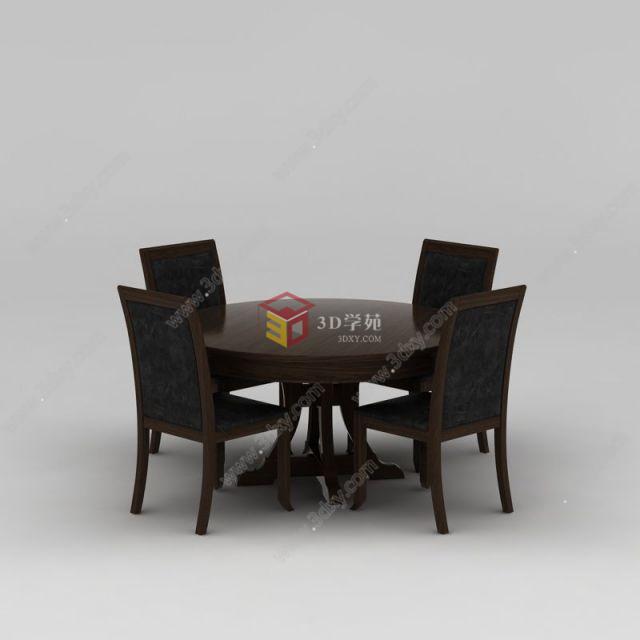 中式实木圆形餐桌椅子组合模型