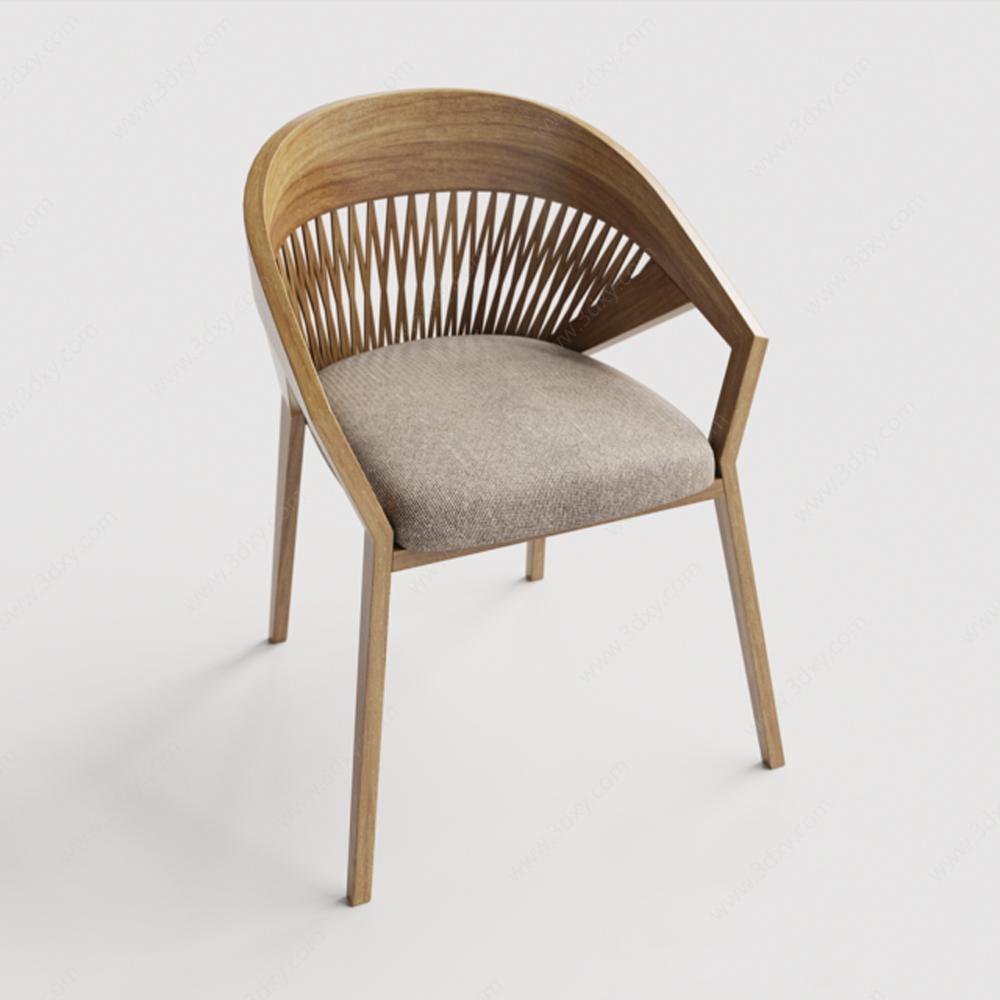 北欧风格实木休闲椅模型