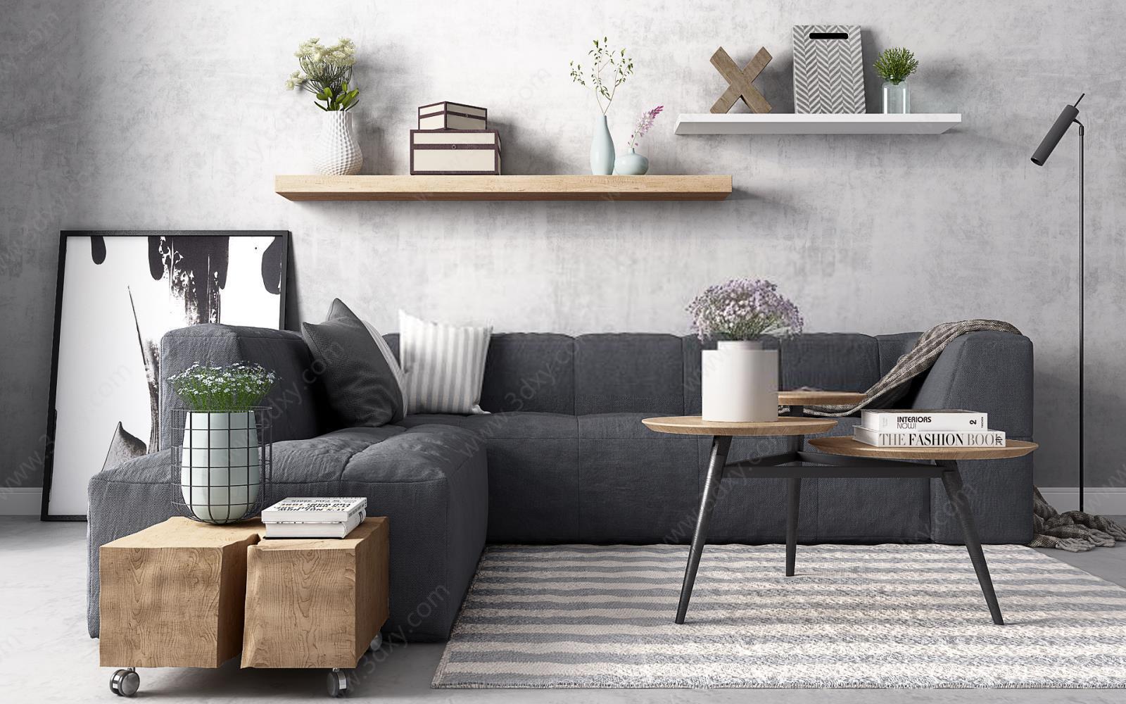 灰色休闲布艺沙发实木茶几组合模型