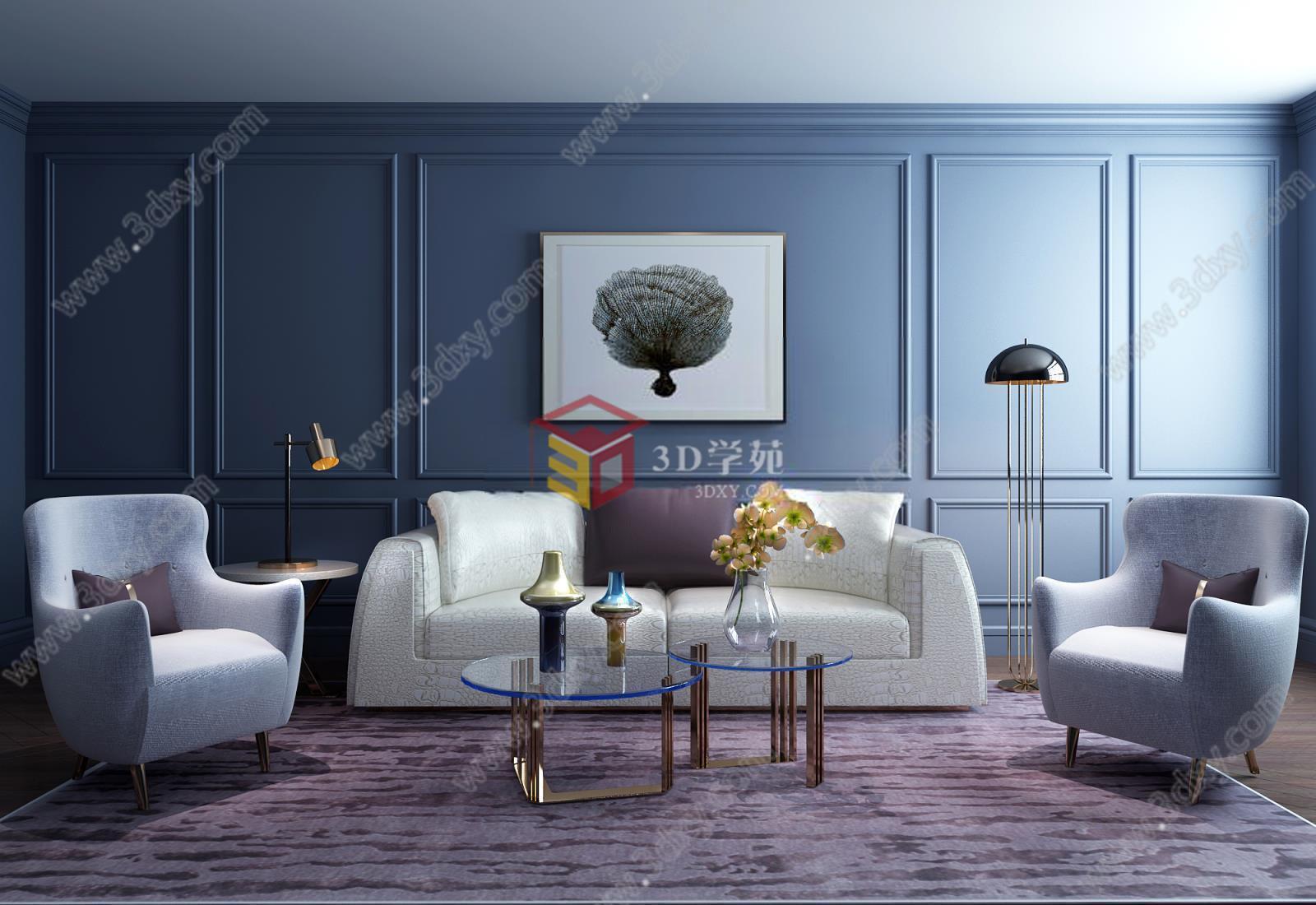 现代简约风格沙发茶几组合模型