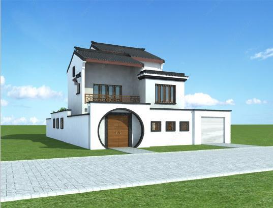 时尚白色二层小别墅模型