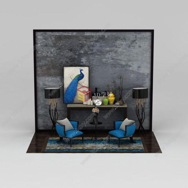新中式客厅家具陈设品组合模型
