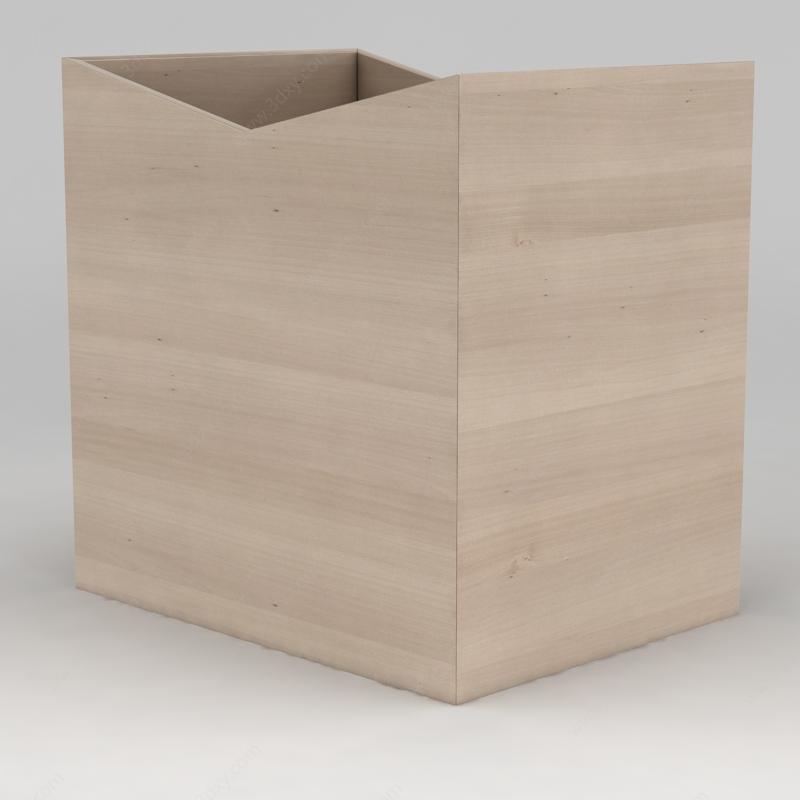日用饰品3d模型 器皿3d模型 现代开口木盒子3d模型