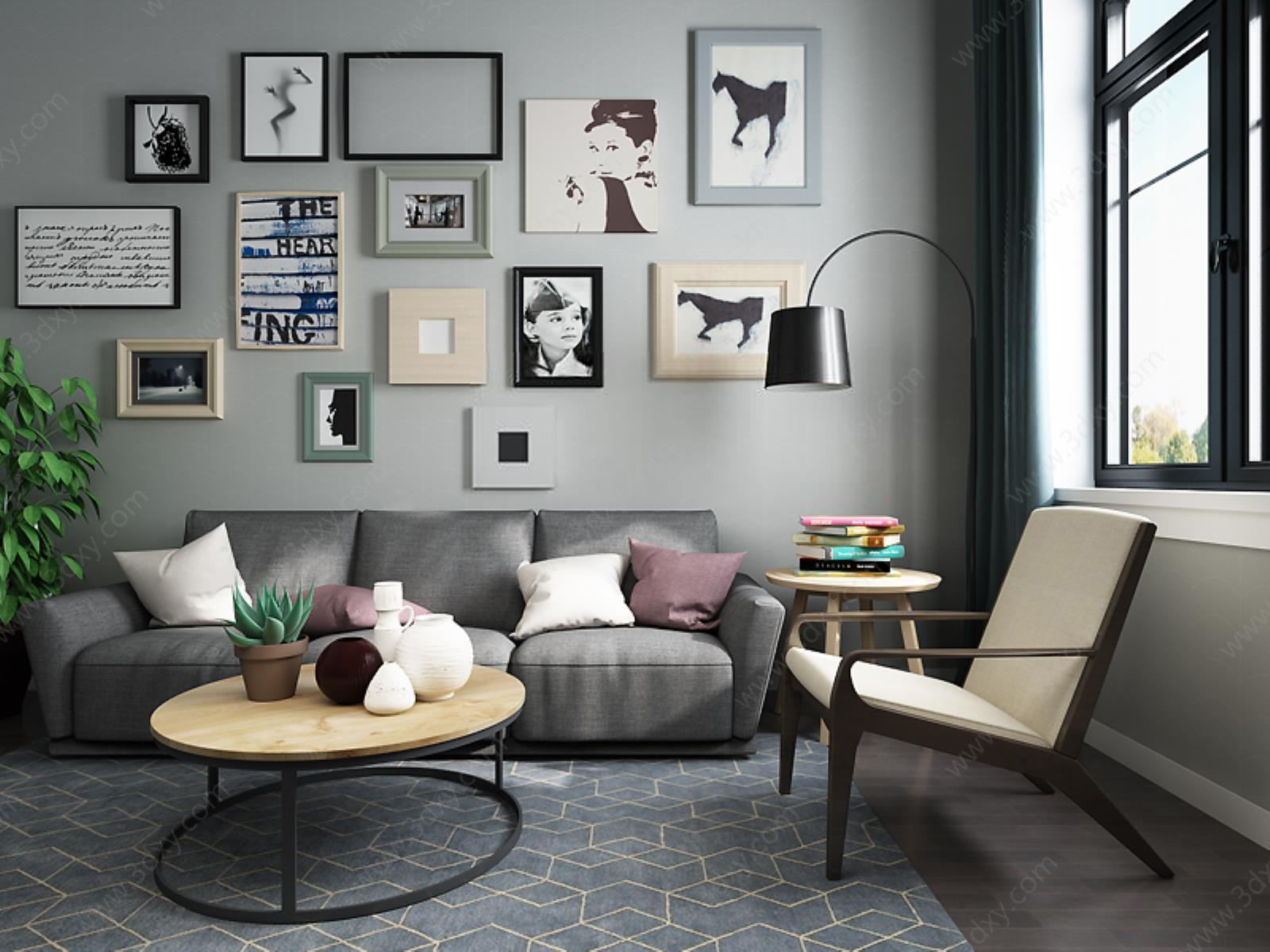 客厅沙发茶几背景墙组合模型