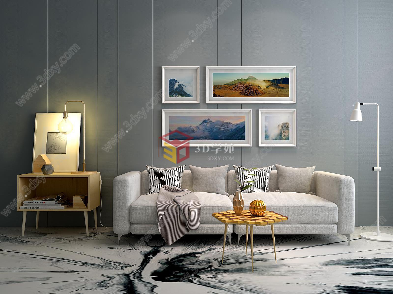 时尚客厅沙发茶几背景墙组合模型