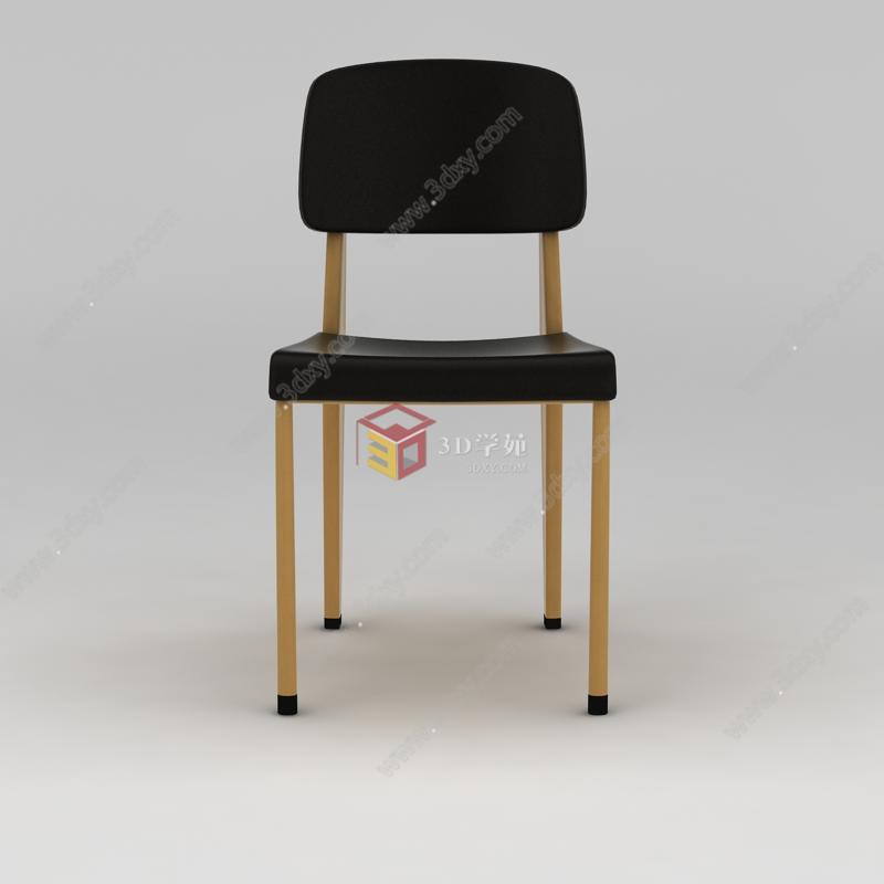 北欧简约实木餐椅模型