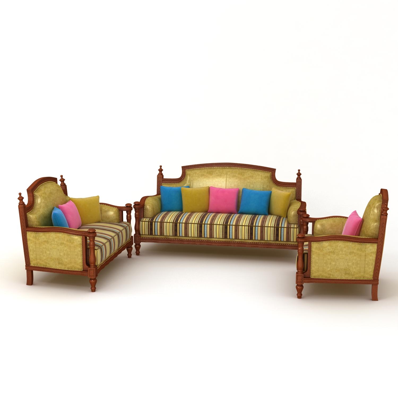 美式乡村黄色皮布沙发组合