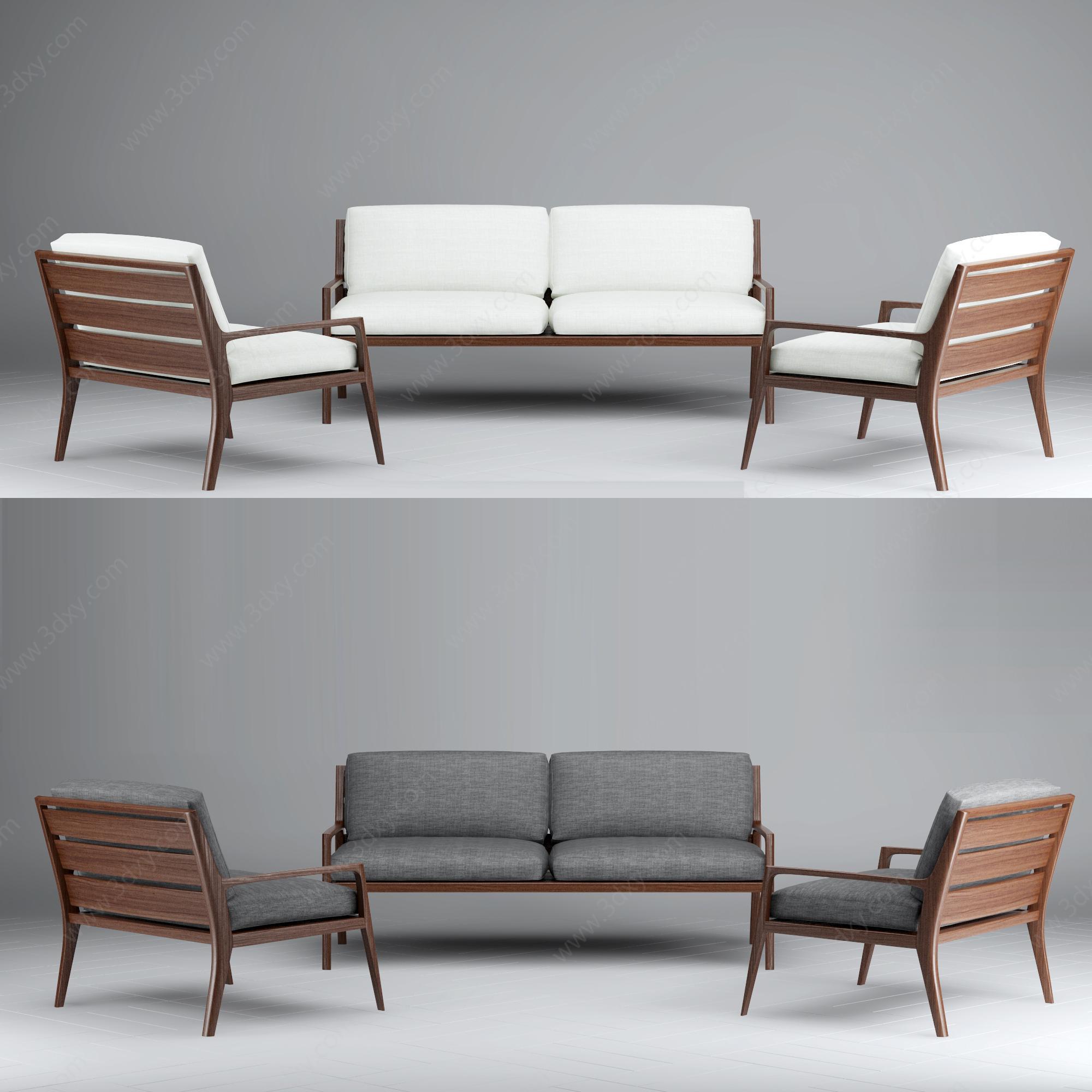 北欧简约实木沙发模型