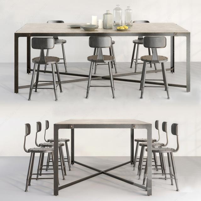 工业风餐厅桌椅组合