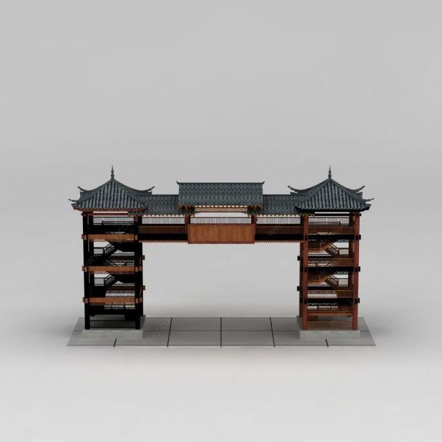 中式双亭设计模型图片下载 建筑六角亭模型 中式建筑古建古建筑素材