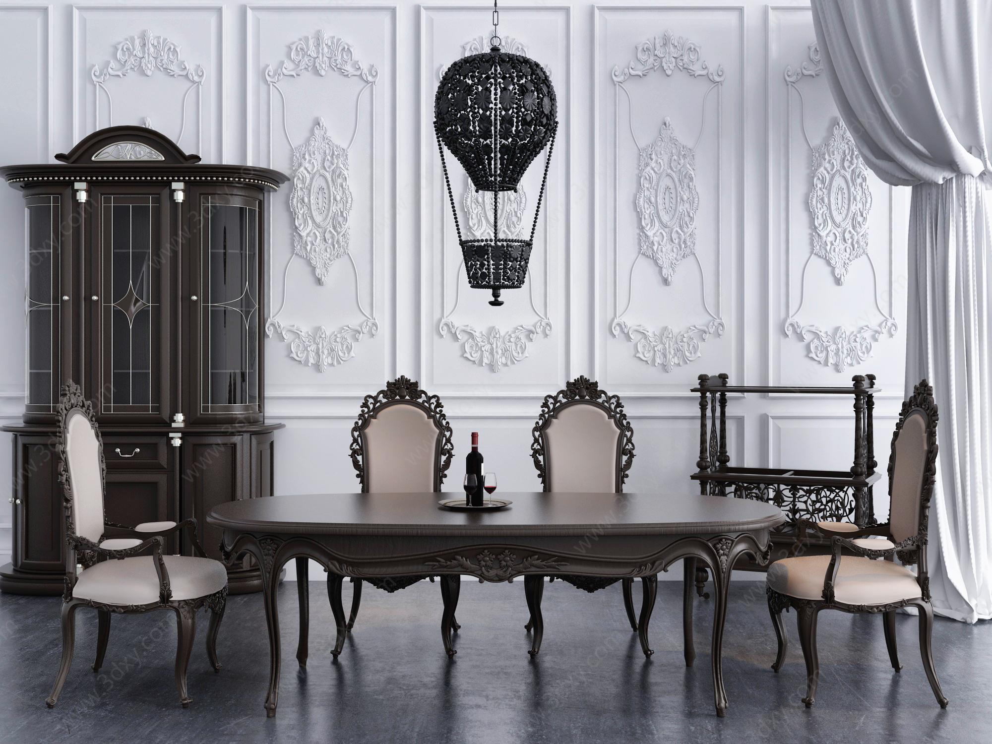 欧式实木雕花餐桌椅餐吊灯组合模型