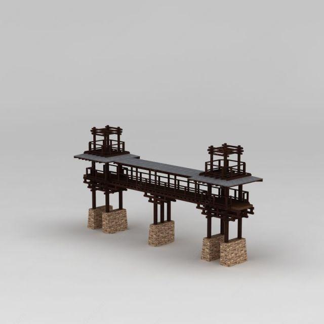 中式园林景观桥模型