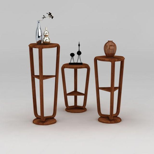 古典木质花架模型