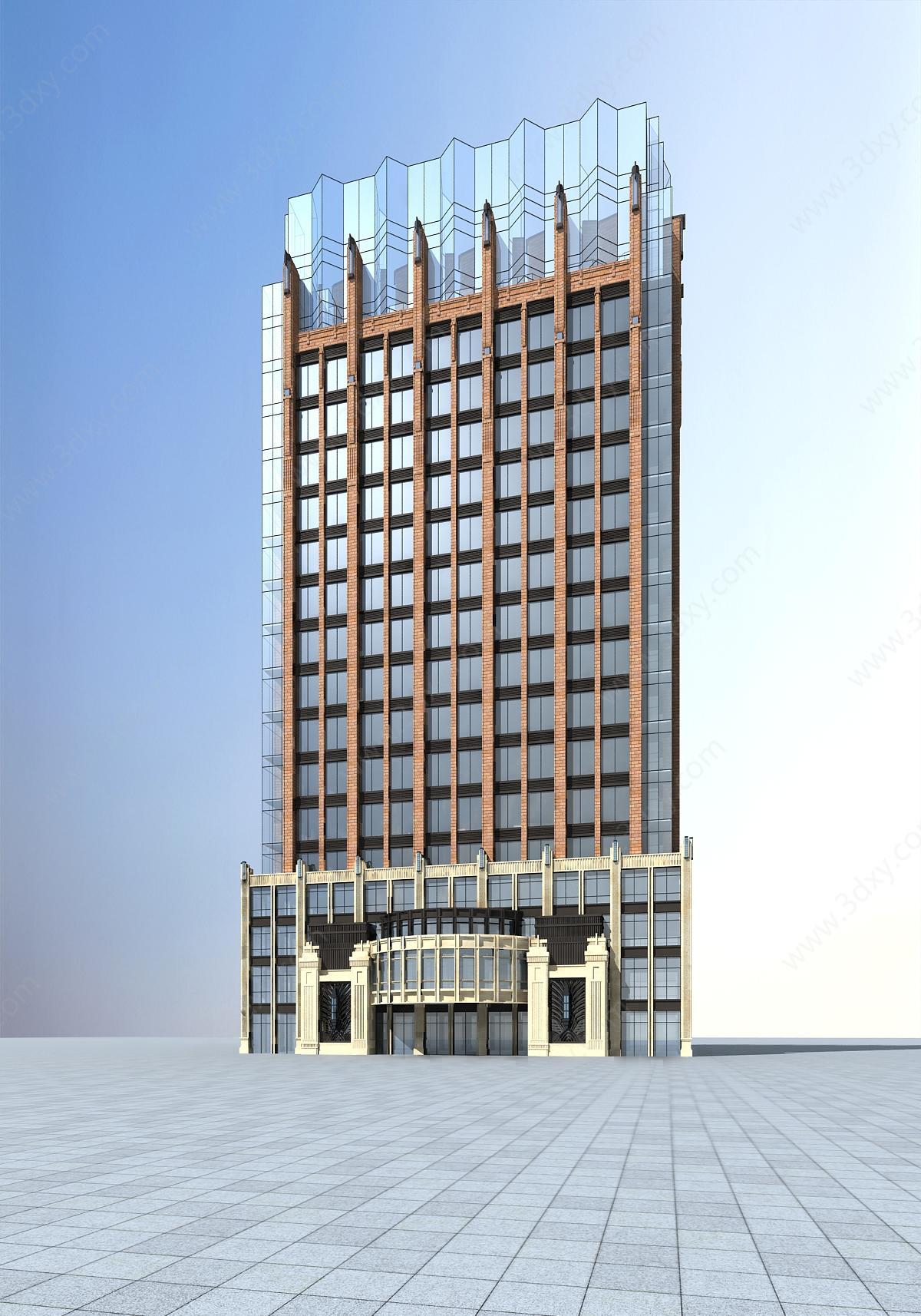 户外建筑3d模型 建筑3d模型 现代高层酒店3d模型