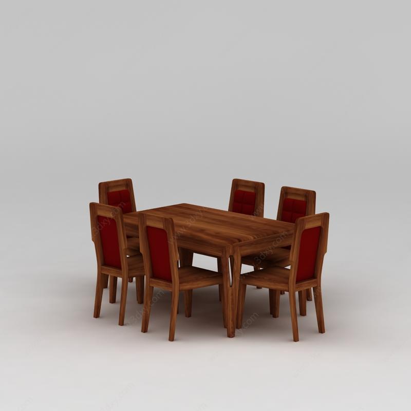 家具组合3d模型 桌椅3d模型 中式实木餐桌椅3d模型