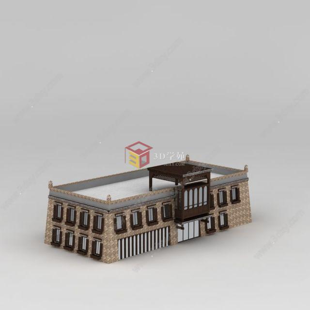 中国藏式风格酒店模型图片