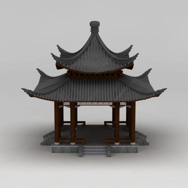 中式建筑双层亭子模型图片