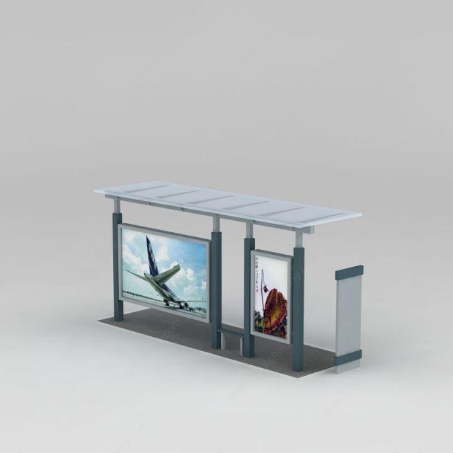 户外建筑3d模型 园林景观小品3d模型 公交车站台3d模型