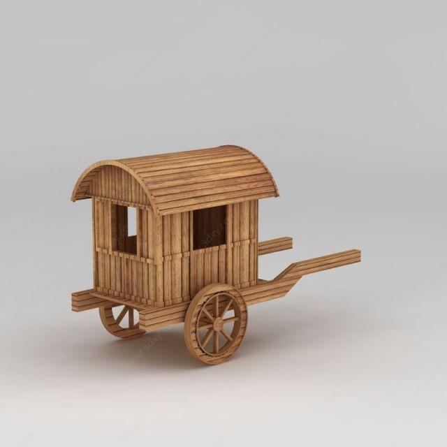 古代木质马车模型