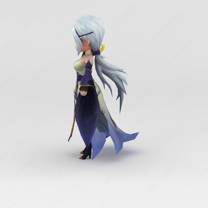 白发美女游戏人物模型