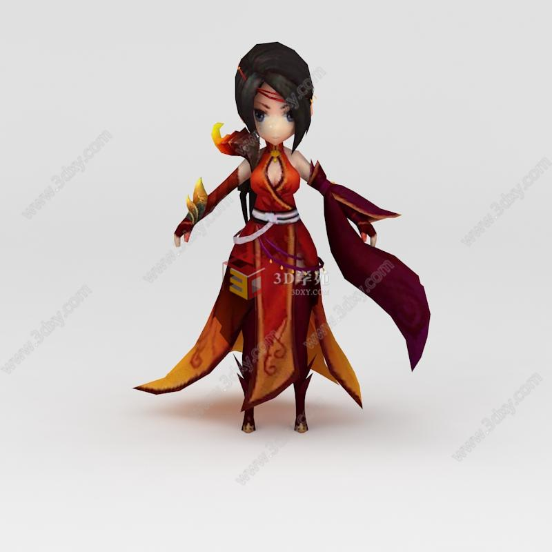 游戏3d模型 角色3d模型 花千骨游戏人物美女3d模型