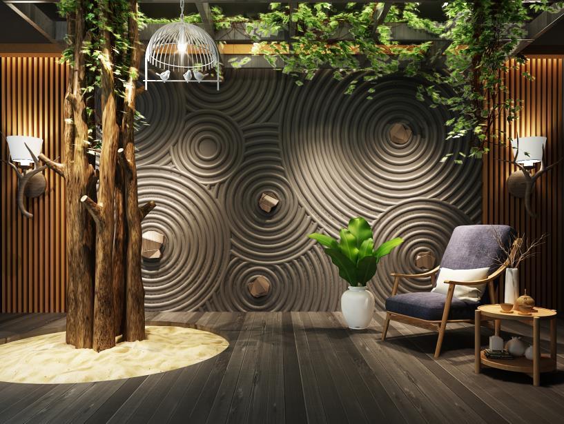 日式禅意墙休闲椅组合