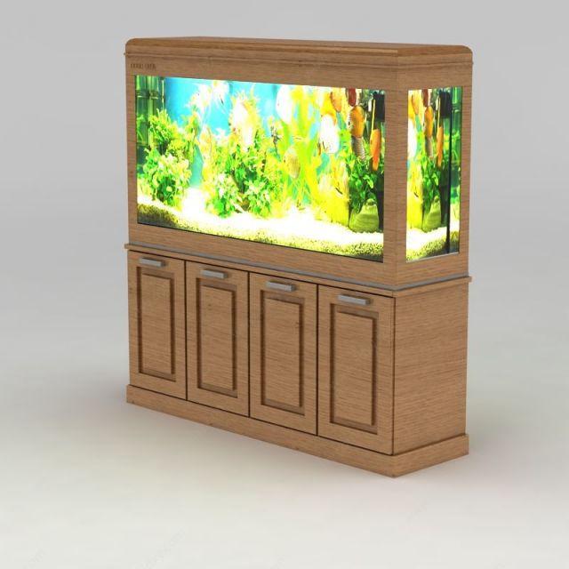 实木鱼缸柜模型