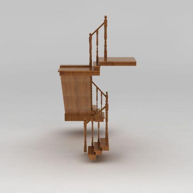 别墅实木楼梯模型,别墅实木楼梯模型下载