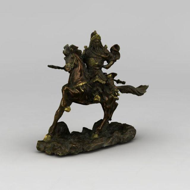 关公骑马雕塑模型