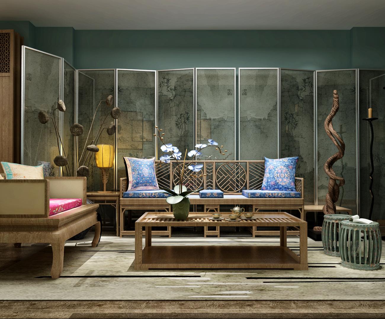 中式木质沙发茶几屏风组合