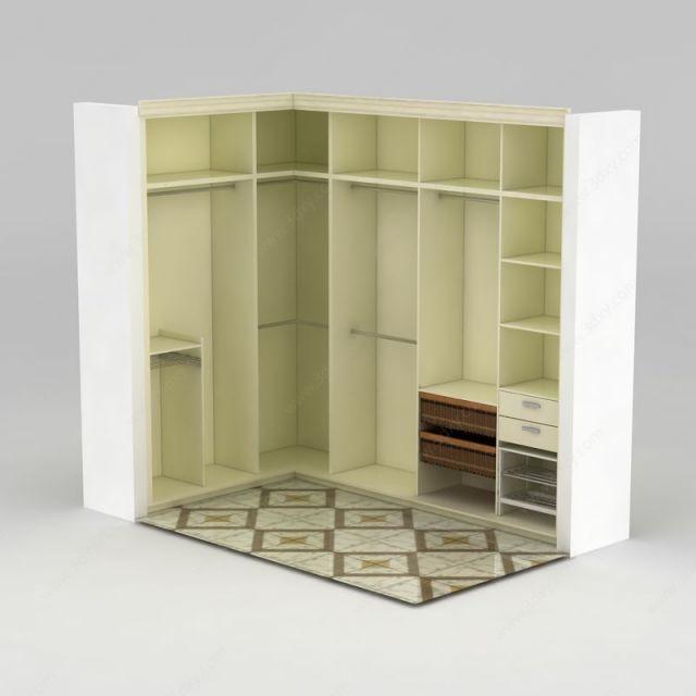 现代白色拐角衣柜模型图片