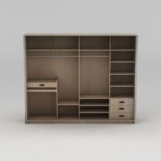 卧室原木衣柜