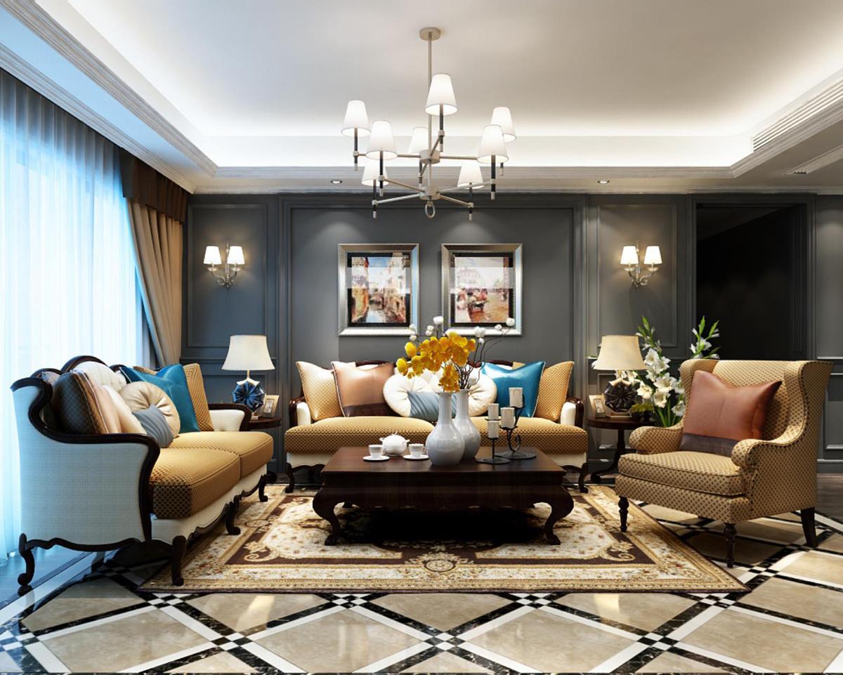 美式沙发茶几组合图片
