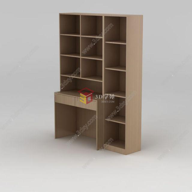 实木简约书柜模型