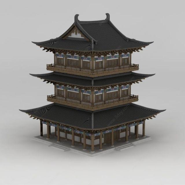 古建塔楼模型