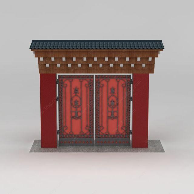藏式大门模型图片
