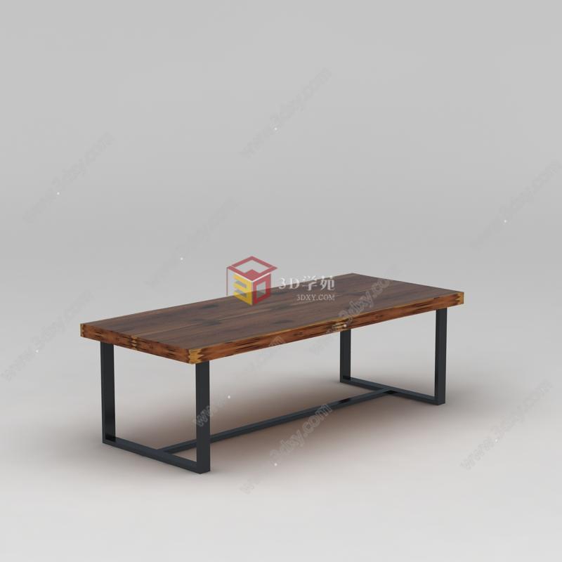 中式木质长桌子模型