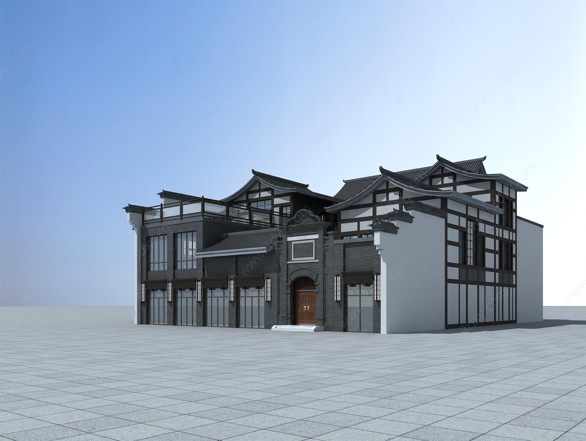 户外建筑3d模型 建筑3d模型 中式商业建筑3d模型图片