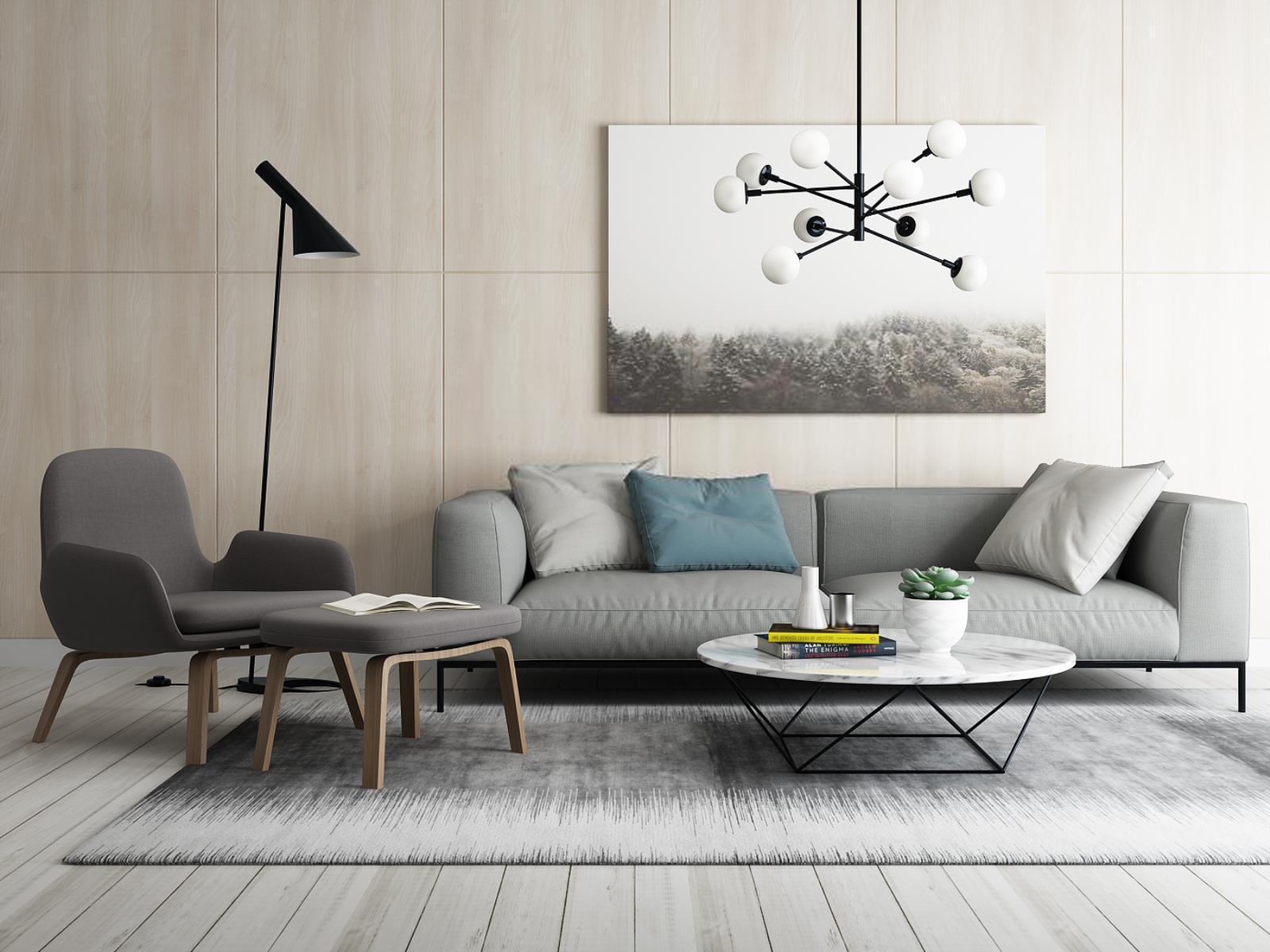北欧沙发茶几单椅组合