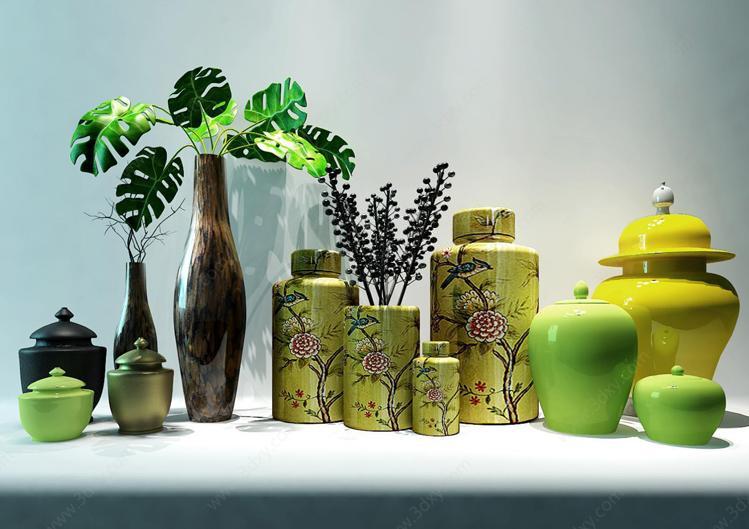 中式植物花艺器皿组合