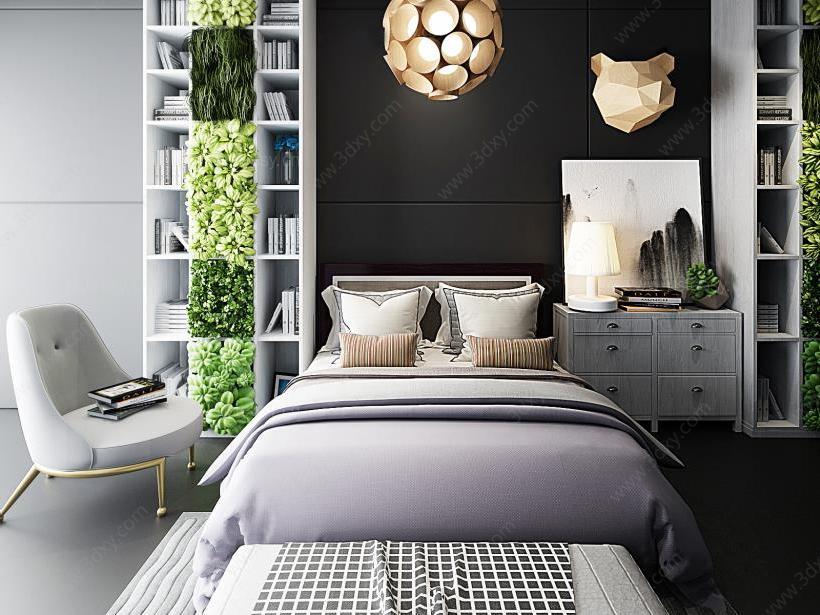 北欧卧室床头书柜双人床组合模型图片