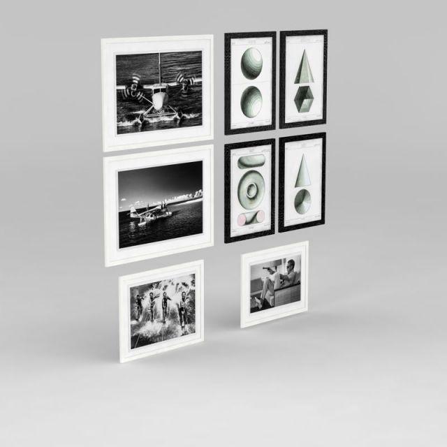 黑白多图相框组合照片墙模型