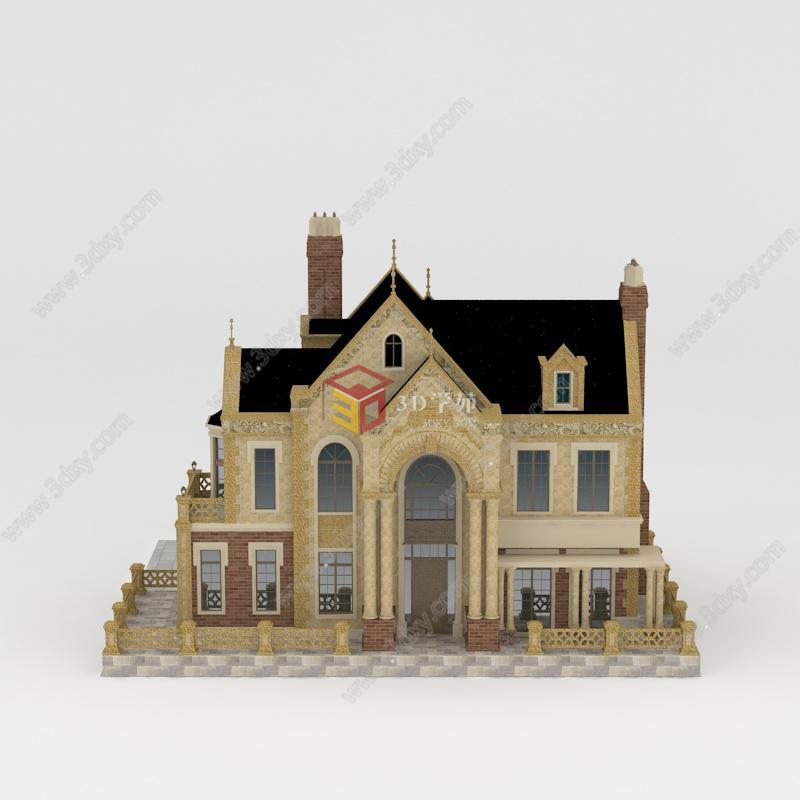 豪华欧式独栋别墅模型