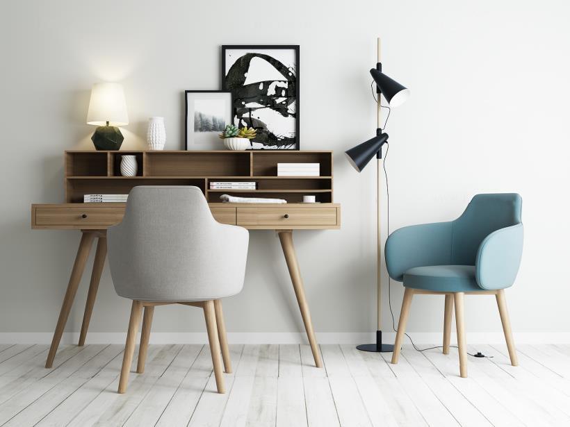 北欧书桌椅落地灯组合